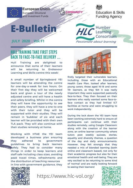 Front page of the e-bulletin